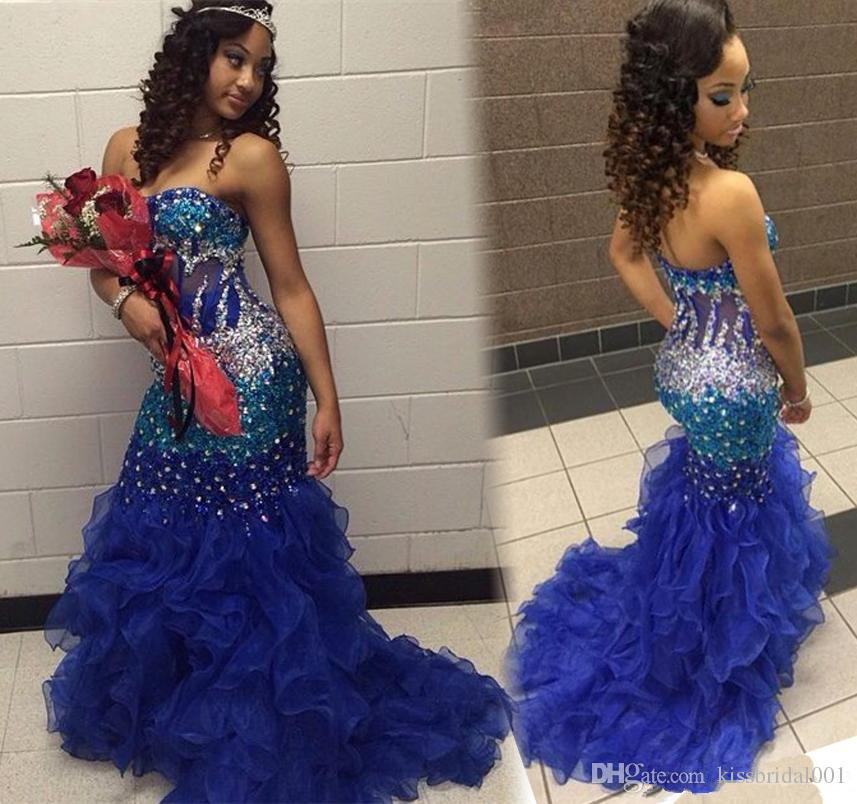 Bling Royal Blue Mermaid Prom Dresses Arabic Formal Crystals Beaded Sequins Lace-up Organza Ruffles Court Train Pageant Party Gowns