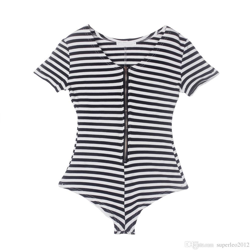 여성 여름 검은 색과 흰색 줄무늬 짧은 점프 딥 V 넥 짧은 소매 섹시한 바디 슈트에서 지퍼 캐주얼 Playsuit 오버올 MESH5079