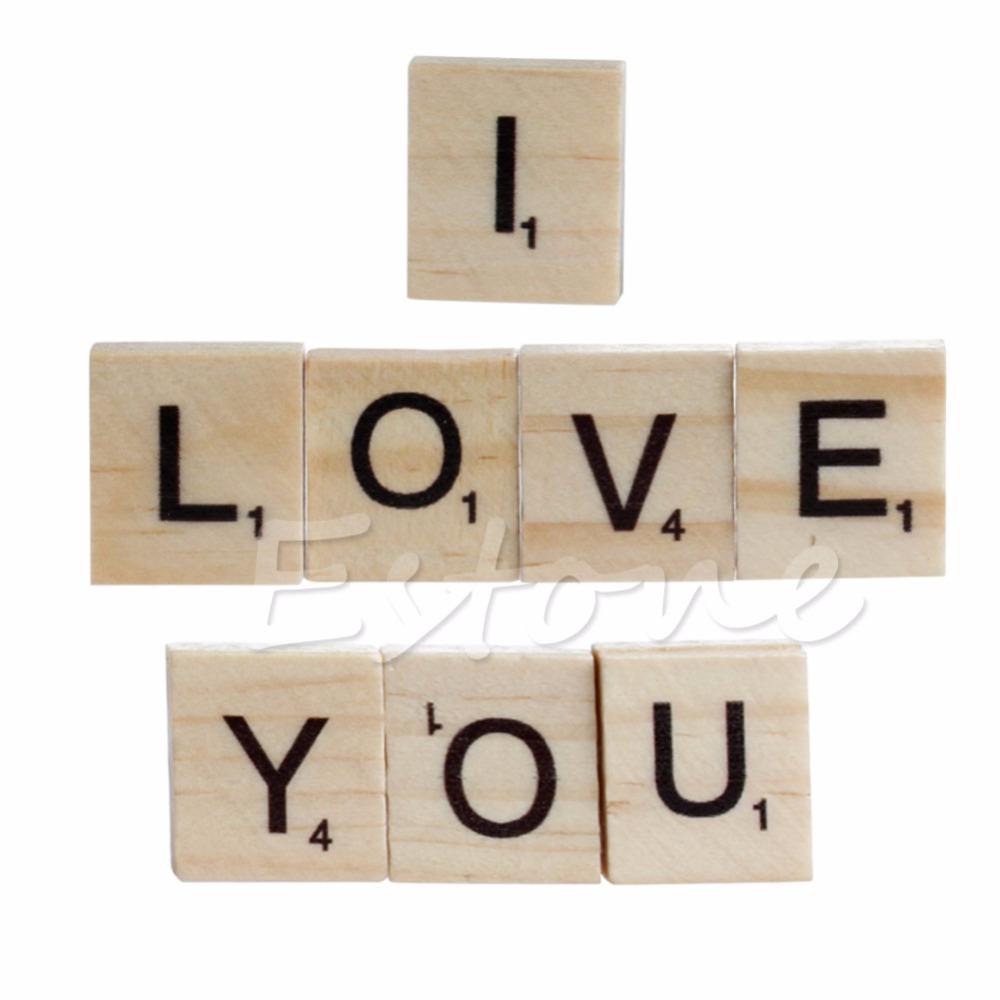 Online Cheap Wholesale Wooden Alphabet Scrabble Tiles Black Letters
