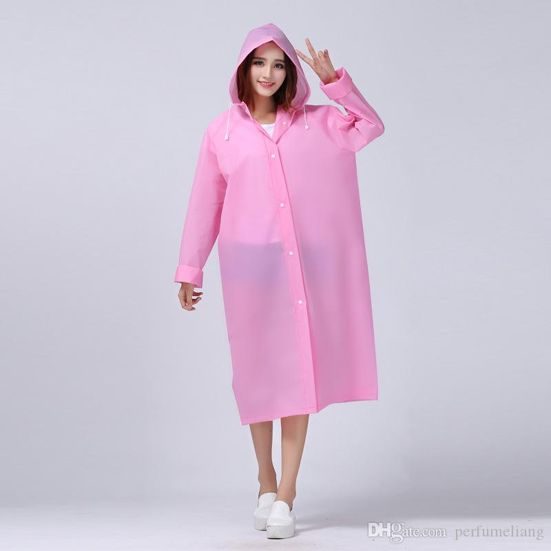 Fashion Women EVA Transparent Raincoat Poncho Portable Light Raincoat NOT Disposable Rain Coat For Adult ZA0487