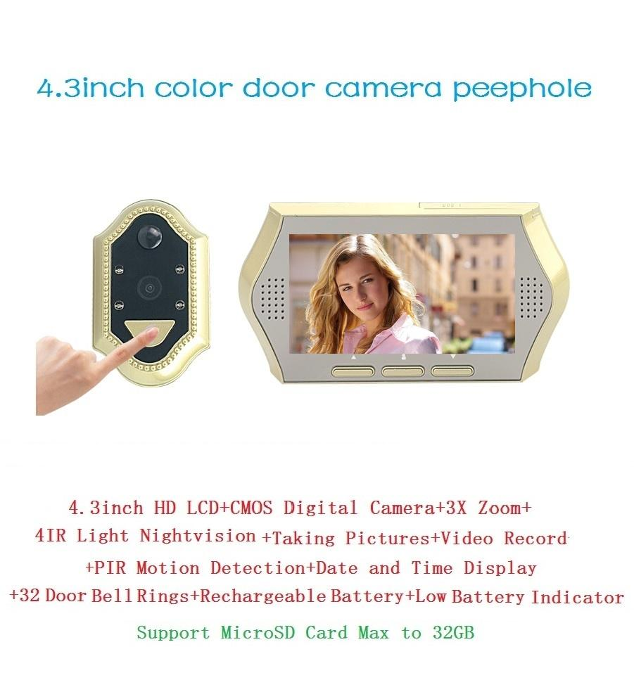New 4.3inch spioncino porta digitale 0.3Megapixels camera IR Night vision 3X Zoom PIR Motion Detection 32 Rings peephole Max 32G