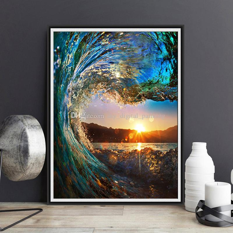 2018 Framed Sunset Scenery Diy Painting By Numbers Drawing By ...
