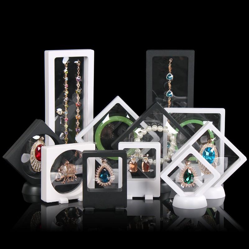 مصنع العلامة التجارية توريد PET غشاء شفاف مجوهرات العرض حامل حامل تغليف صندوق حماية مجوهرات العائمة عرض حالة