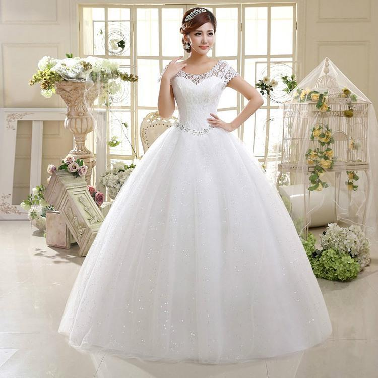2018 New Wedding Gowns Floor Length Lace Short Sleeves Scoop Cheap ...