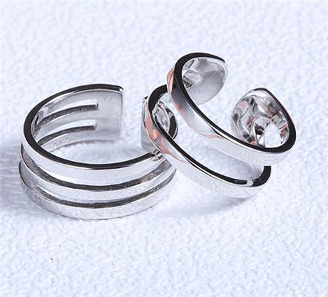 925 sterling silver jewelry men rings lady woman white gold stripe blank smooth couple ring open fashion gifts party fashion for lovers