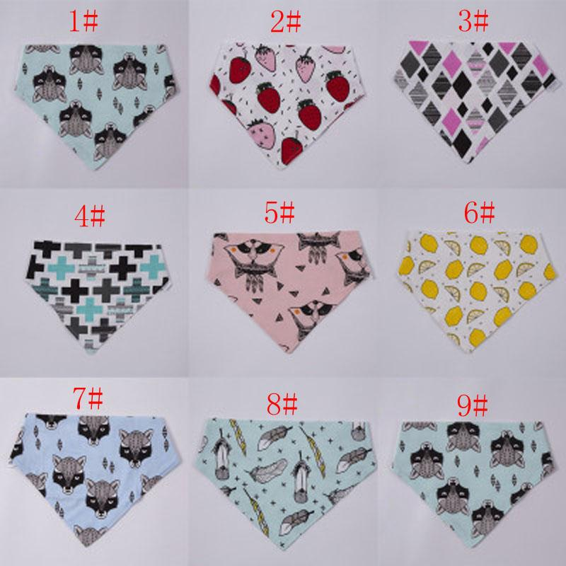 FREE DHL 2016 ins hot infant baby bibs triangular fox binder children pure cotton double-deck burp cloths baby cute pinafores 10 Styles