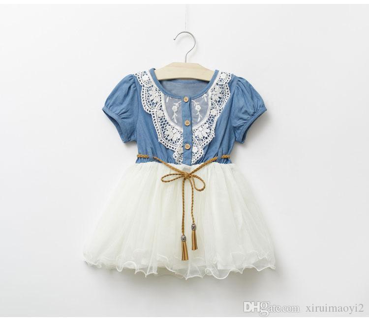 Baby Kleid 2016 Sommer Freizeit Stil Kinder Mädchen Blume Jean Kleid Baby Mädchen nette Spitze Denim Kleid Kind Mode Kleid Outfits