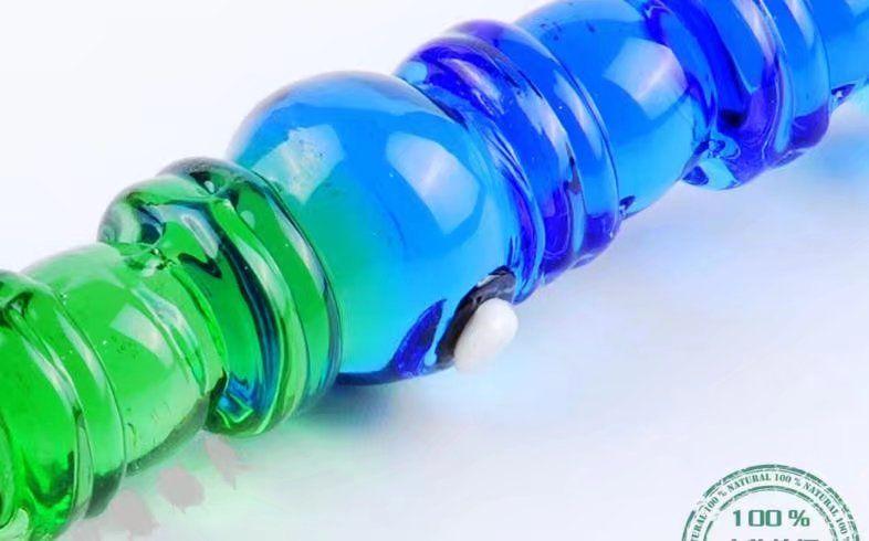 Cristalería de plumas de bambú azul y verde, bongs de cristal al por mayor, pipa de agua de vidrio, cachimba, accesorios de fumar,