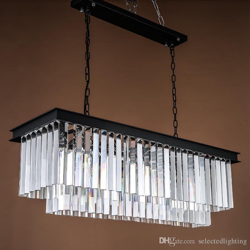 new concept 709ab 9bdb6 French Modern Rectangle Crystal Chandelier Lamp K9 Crystal Curtain Design  E14 Bulb 110V 220V Crystal Chandelier Pendant Light For Home Led  Chandeliers ...