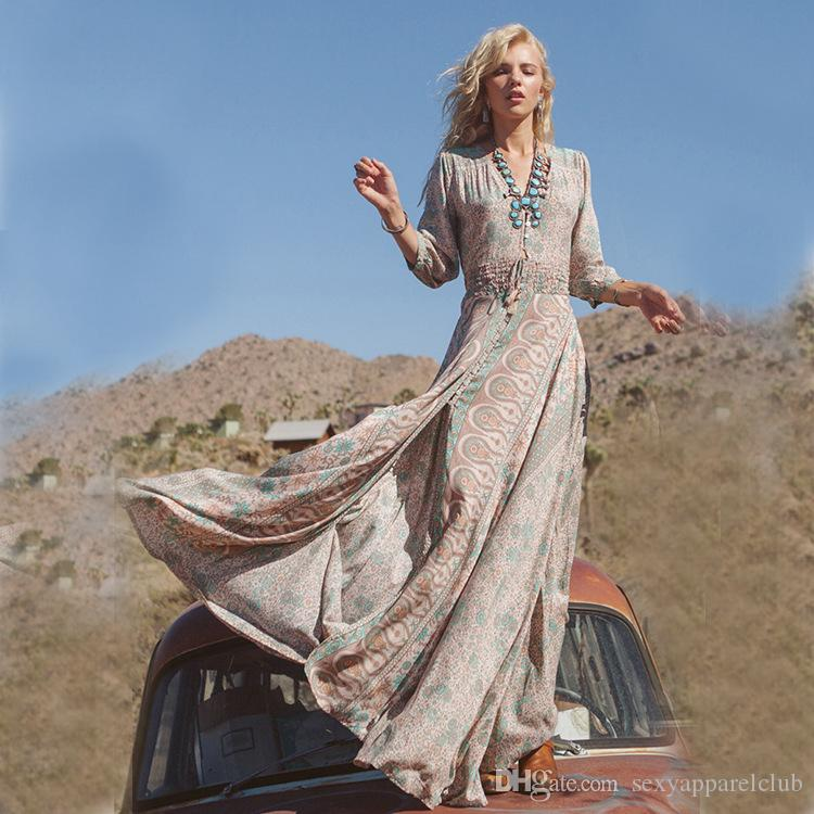 Hight Quality Spring Summer Women Vintage Elegant Deep V Neck Boho Split Hippie Long Maxi Dress Sexy Ladies Chiffon Floral Print Dress