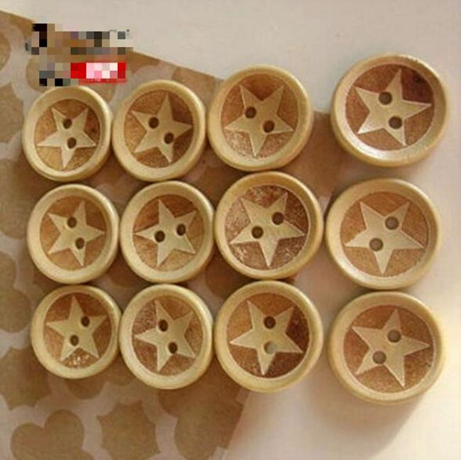 WB-19 Оптовая продажа 100 шт. Mixsize окрашенные Wodden star кнопки два отверстия деревянная кнопка декоративные кнопки швейные ремесла швейные аксессуары
