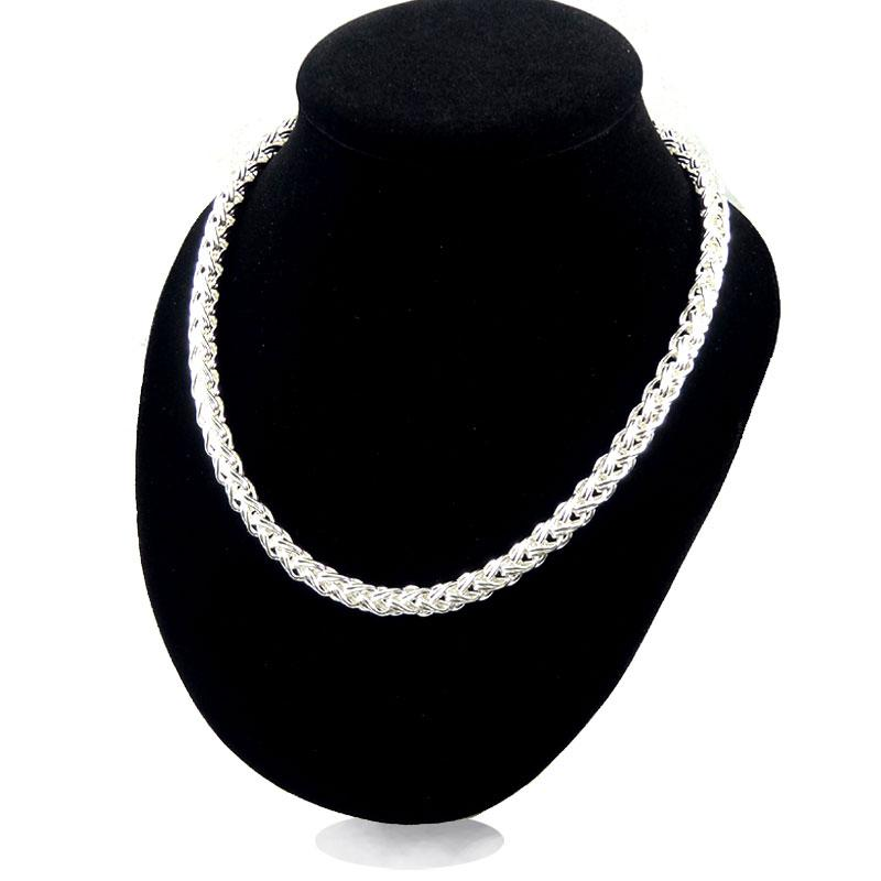 Twisted Singapore Necklace Chain TO Button Thick String 30% 925 Sterling Silver Jewelry For Women And Men 20Inch Long Singapore Necklace