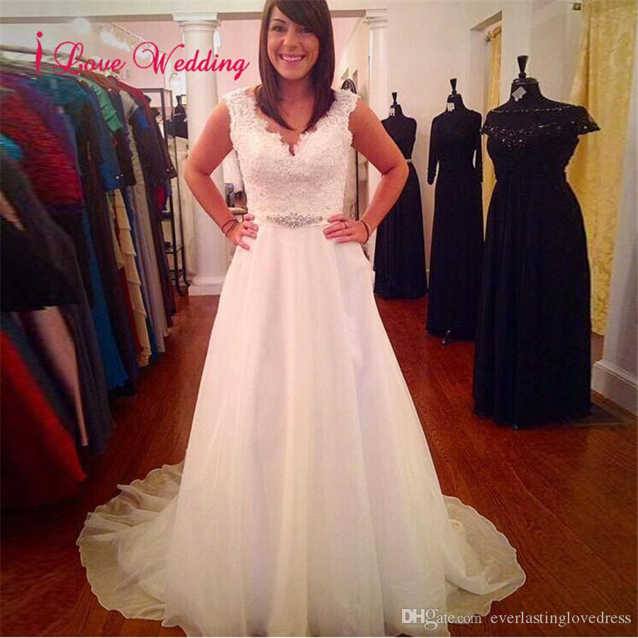 Discount White Long Plus Size Wedding Dresses Sleeveless V Neck ...