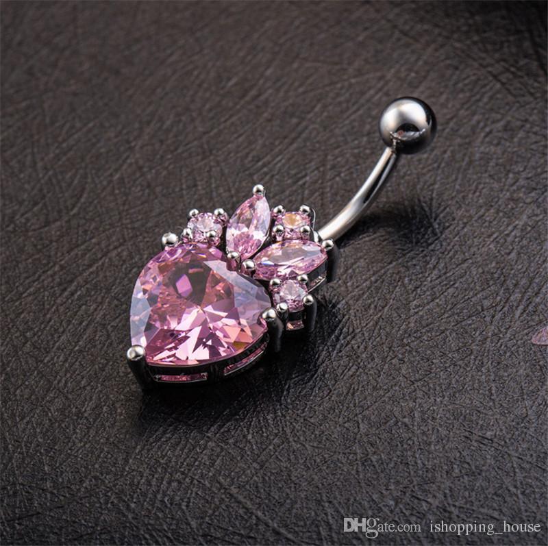 2016 vendita calda di alta qualità carino a forma di cuore flower flower bar bar bell tasto anelli piercing ombelico corpo gioielli la signora sexy