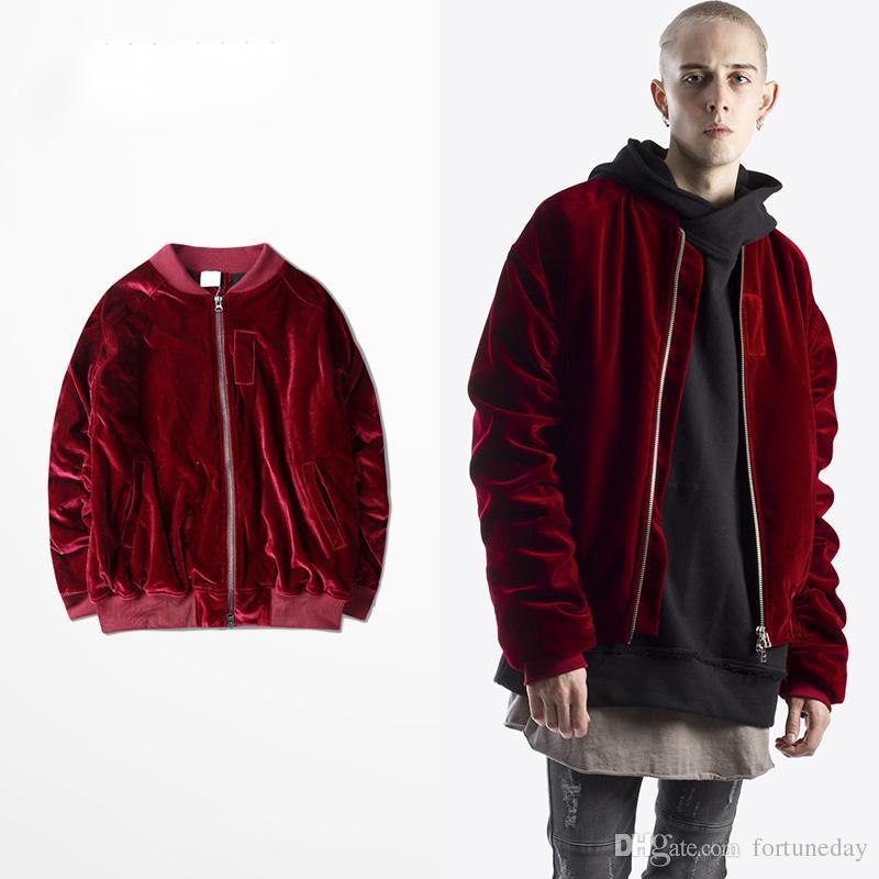 15 - New Kanye Bomber Jacket For Men Hip Hop Wine Red Velvet Coats