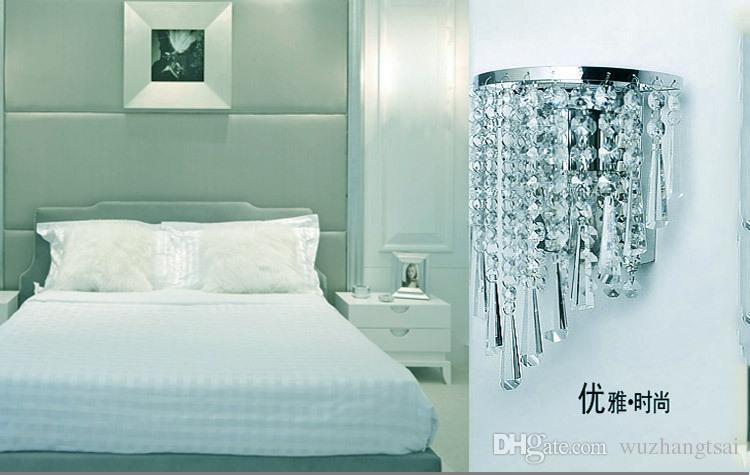 실버 아트 데코 스타일 복도 LED 벽 램프 계단 거실 침실 크리스탈 침대 옆 빛 램프 sconce