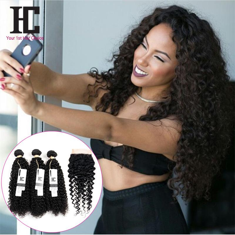7a Grade Peruvian Curly Hair With Closure 4 Hair Bundles With Lace Closures Peruvian Virgin Hair Afro Kinky Curly With Closure