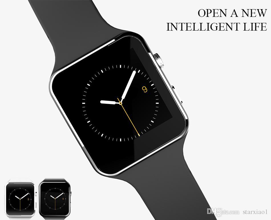 Bluetooth Smart Watch para iPhone IOS teléfono Android X6 E6 SmartWatch Anti-perdida Sync Notificación de mensaje Recordatorio Cámara Soporte Tarjeta SIM TF