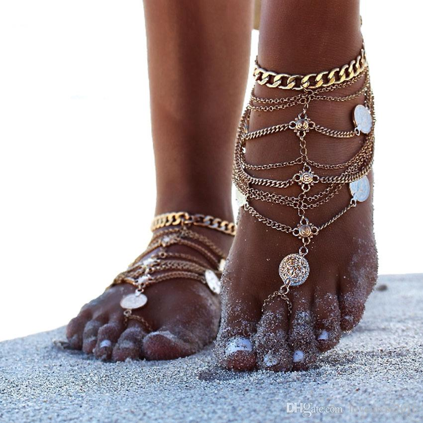 2018 New Style European and American Retro Metal Coins Beach Fringed Anklets Personality Women Footlet Chain Bridal Accessories
