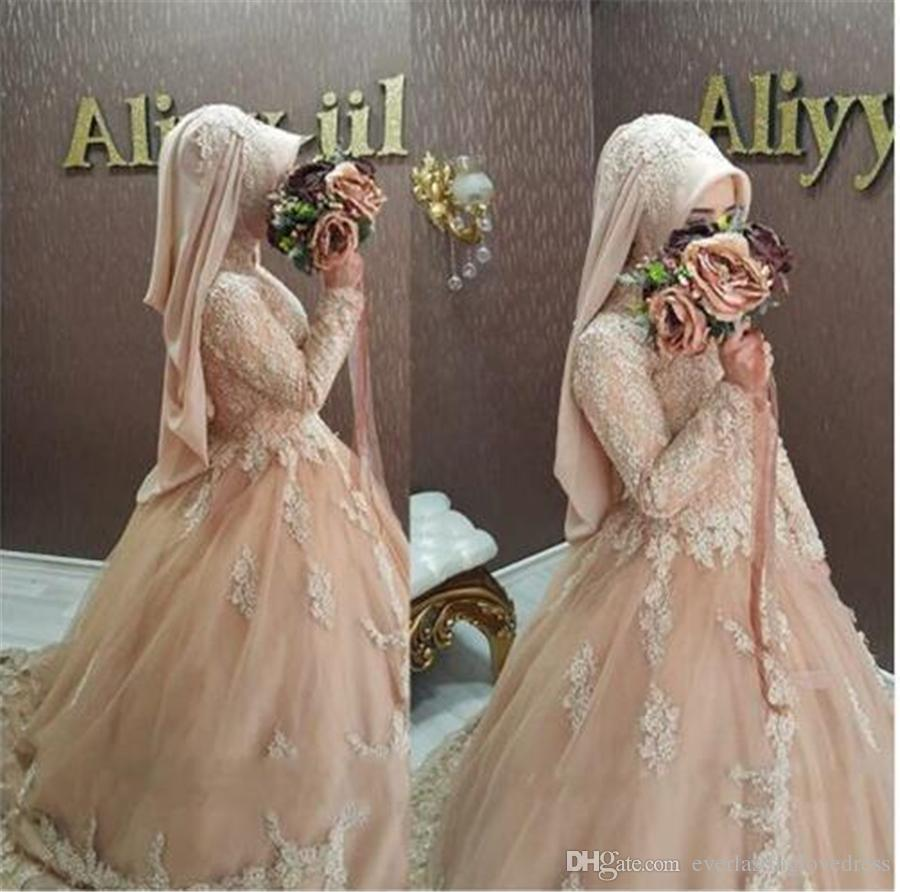 Discount Hijab Wedding Dress Muslim Lace Long Sleeve Champagne ...