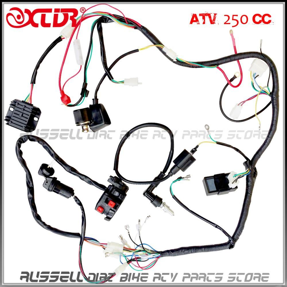 COMPLETE ELECTRICS ATV QUAD Four Wheeler 200cc 250cc Ignition Coil,Cdi  Switch Key Rectifier Harness WIRING HARNESS Atv Motorcycle Parts Atv  Motorcycles From ...