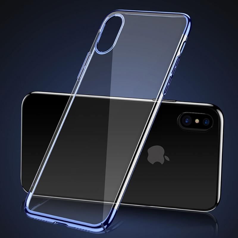 new styles 20c15 2e84c For Baseus iphone X Case Ultra Thin Clear Hard PC Plating Back Cover Phone  Cases For iphone X
