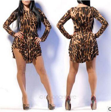 85ac433a72 Sexy Evening Club Party Dress O Neck Long Sleeve Casual Plus Size Cheap  Women Irregular Leopard Bodycon Bangage Dress Mini Skirt B122 Black Summer  Dresses ...