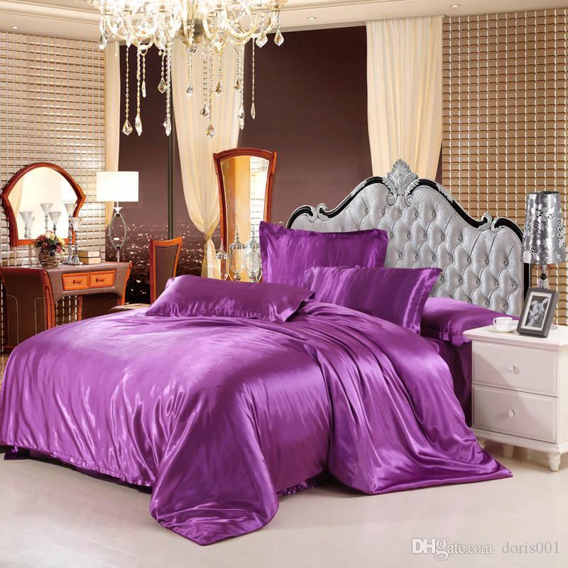 2016 solido di lusso biancheria da letto di raso di seta di colore impostato king size queen lenzuolo / copripiumino / federa / viola set rosso argento Tessuti domestici