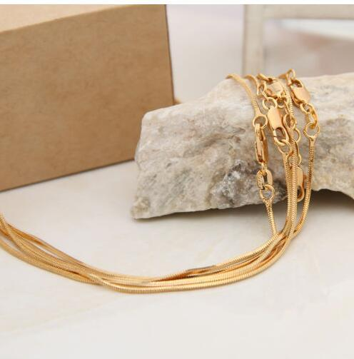 big discount jelwery accessories 1mm 18K gold plated snake chain pendant necklace bone necklace 16-30 inch hot sale