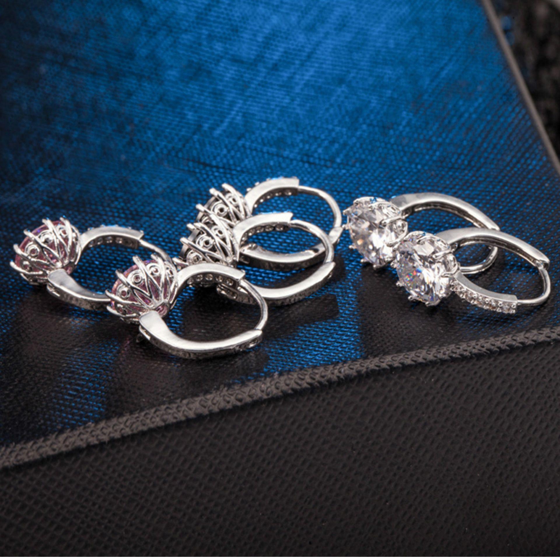 Gros nouveau 925 Sterling Silver Ear Crochet cristal strass Hoop boucles d'oreilles