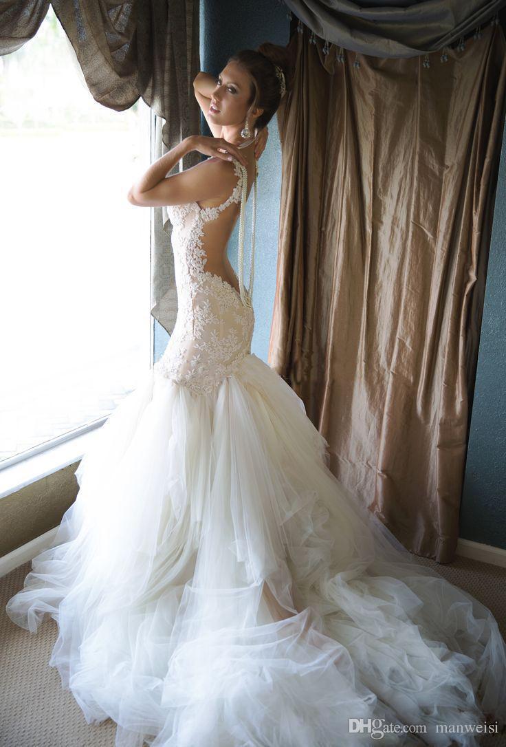 Backless Mermaid 2018 Brautkleider Birnen Sheer Neck Lace Applique Trompete Brautkleider Sleeveless Sweep Zug Naama Anat Brautkleid
