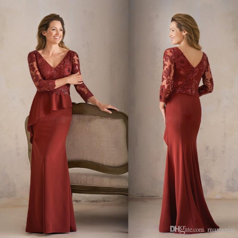 628832ab800e6 Satın Al Yeni Bordo Anne Gelin Elbiseler 3/4 Kollu Dantel Aplike Anneler  Abiye Artı Boyutu Mermaid Kadın Abiye Bolero, $126.44 | DHgate.Com'da
