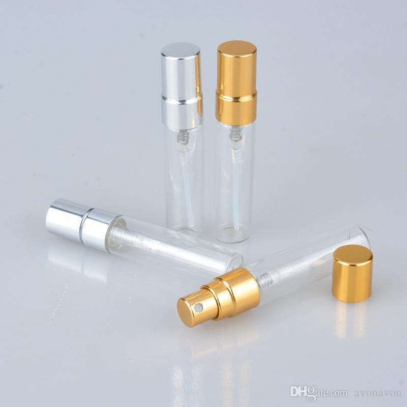 5ml 10 ml transparente frasco de vidro frasco vazio claro recarregável atomizador de perfume com tampão de prata ouro amostra portátil vials b706