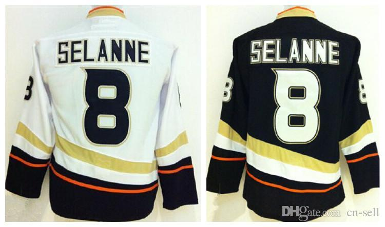 promo code f20c3 f16c7 Youth Anaheim Hockey Jerseys #8 Teemu Selanne jersey Kids Home Black Away  White Cheap Boys Selanne Stitched Jersyes A Patch