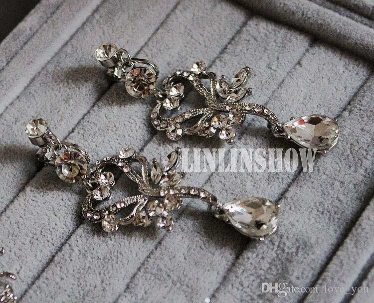 Romantische Glänzende Perlen Strass Braut Tiara Halskette Ohrring Schmuck Sets Perlen Hochzeit Zubehör Für Hochzeit Abend Party LY057