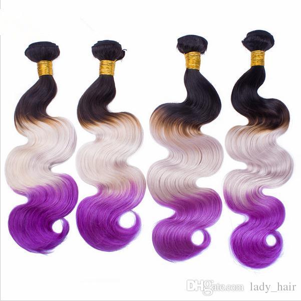 9A Vierge Péruvienne # 1B Gris Violet Trois Tons de Cheveux Colorés Avec Fermeture Vague de Corps Ondée Cheveux Ombre 3Bundles Avec 4x4 Dentelle Fermeture