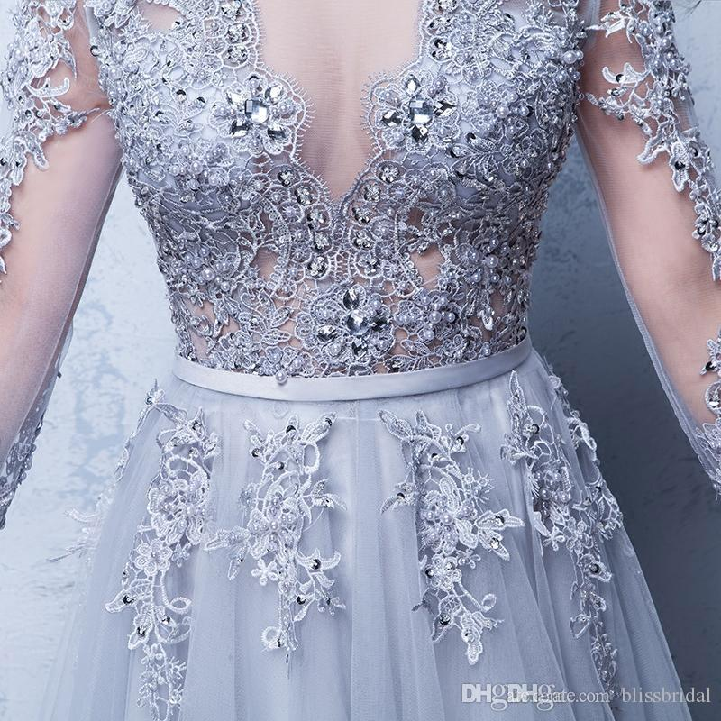 Sexy Illusion Evening Gowns Lace Formal 2017 Real Photos Prom Dresses With Applique Beads Crew Neck 3/4 Sleeves Under 100