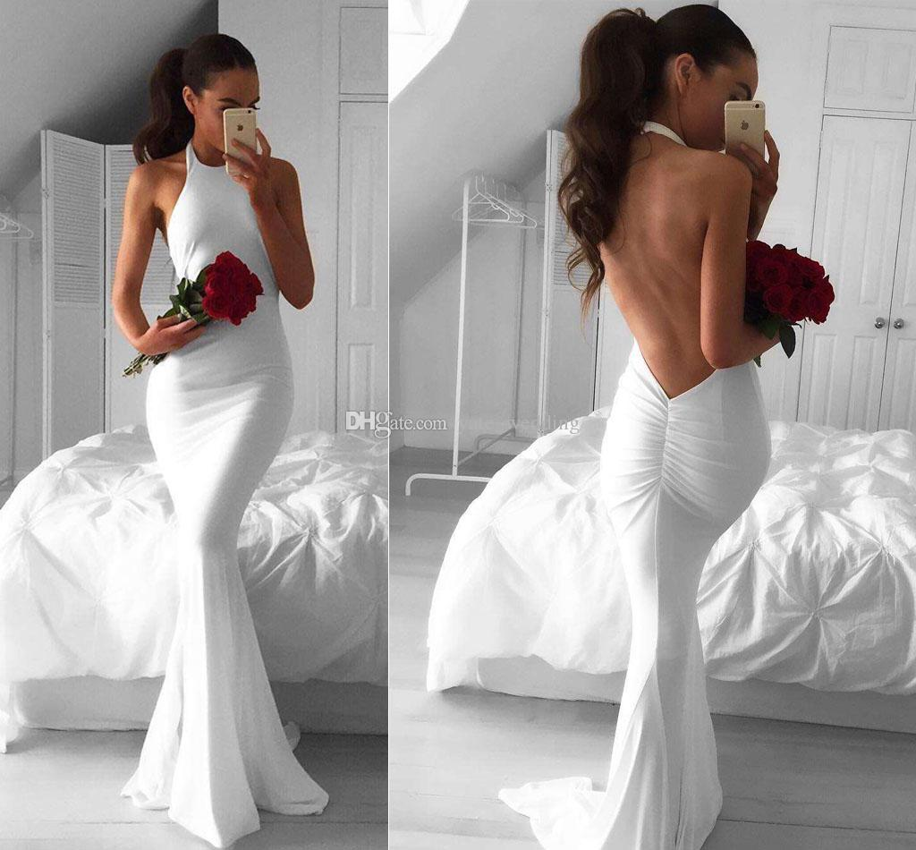 Sexy Backless White Mermaid Prom Dresses Halter Sleeveless 2017 Cheap Long Evening Dresses Fitted Satin Michael Costello Party Dresses