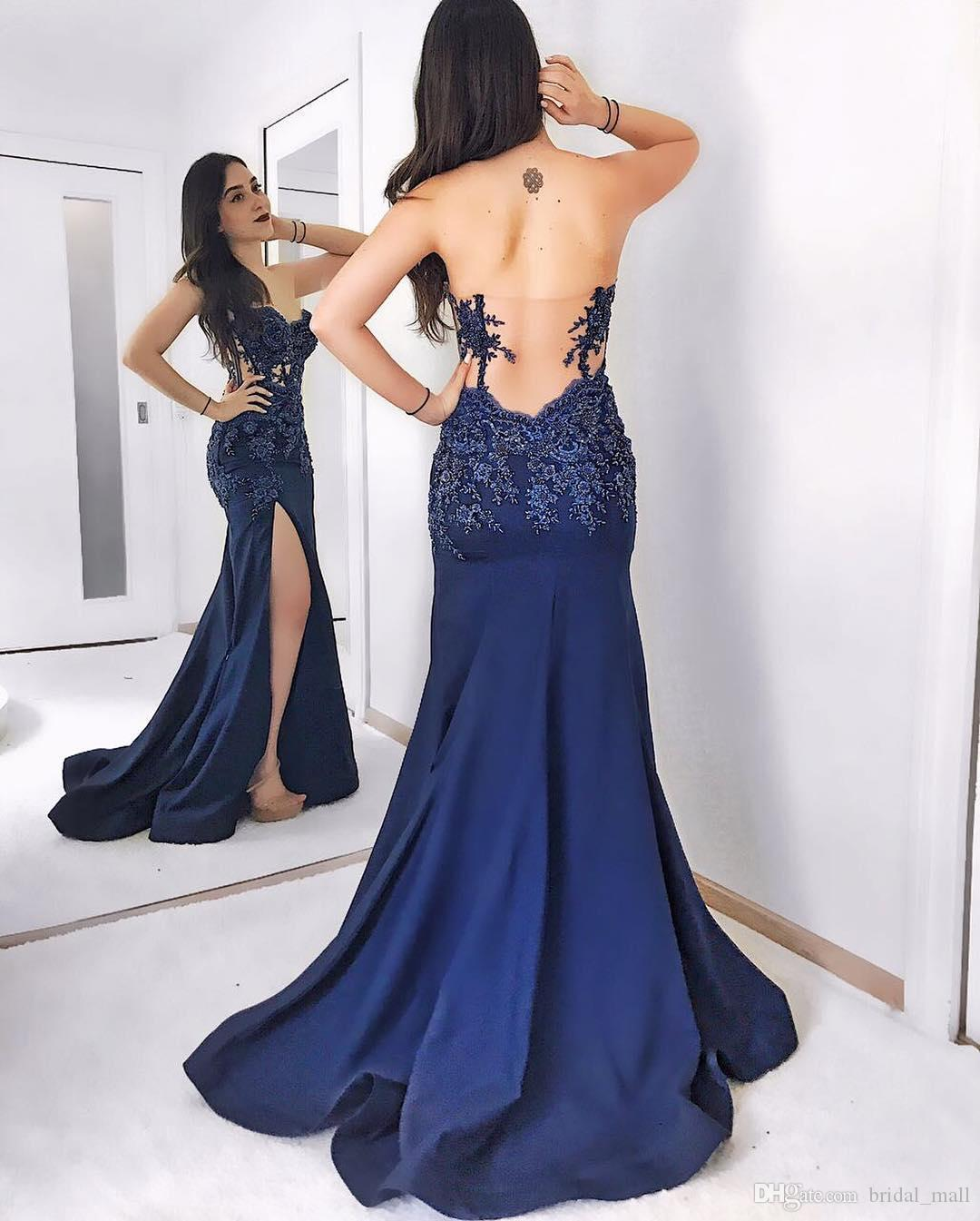 Elegant Navy Blue Prom Dress Sweetheart Backless Mermaid Evening ...