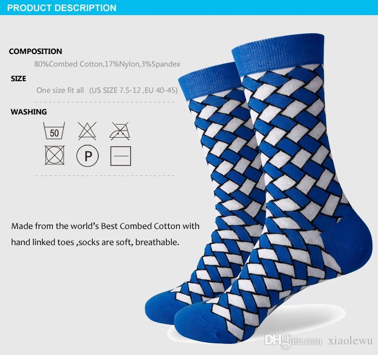 2016 yeni erkekler renkli penye pamuklu çorap, ekose çorap, ücretsiz nakliye, ABD boyutu 7.5-12 369