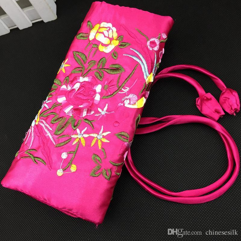 Gestickte Blumenvogel Silk Schmuck-Reisetasche Roll n gehen Kosmetiktasche für Make-up Drawstring-Beutel faltbarer Speicher-Beutel /