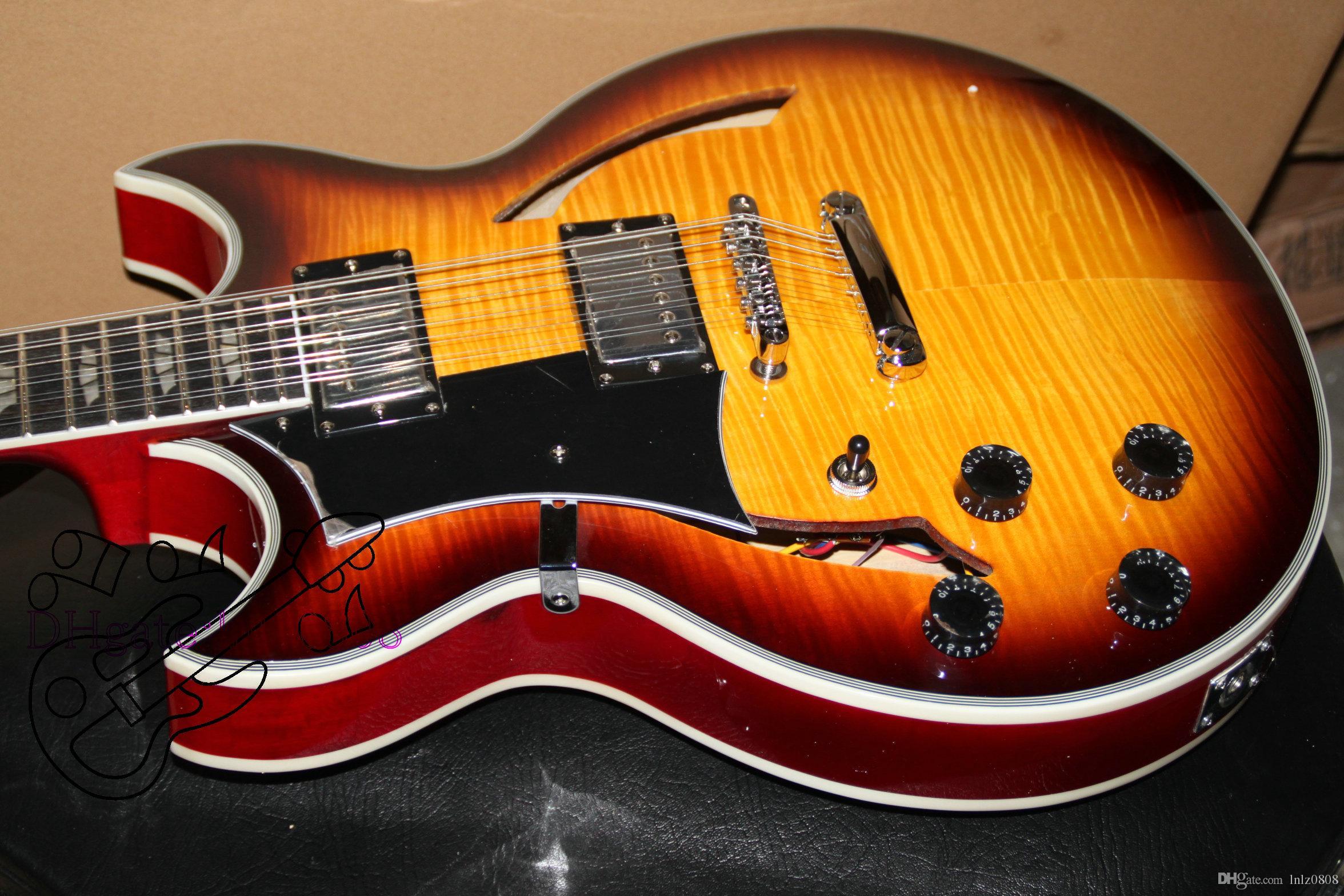 Personalizado 12 cordas guitarra canhoto Guitarra Sunburst corpo oco jazz Guitarra Elétrica Frete Grátis