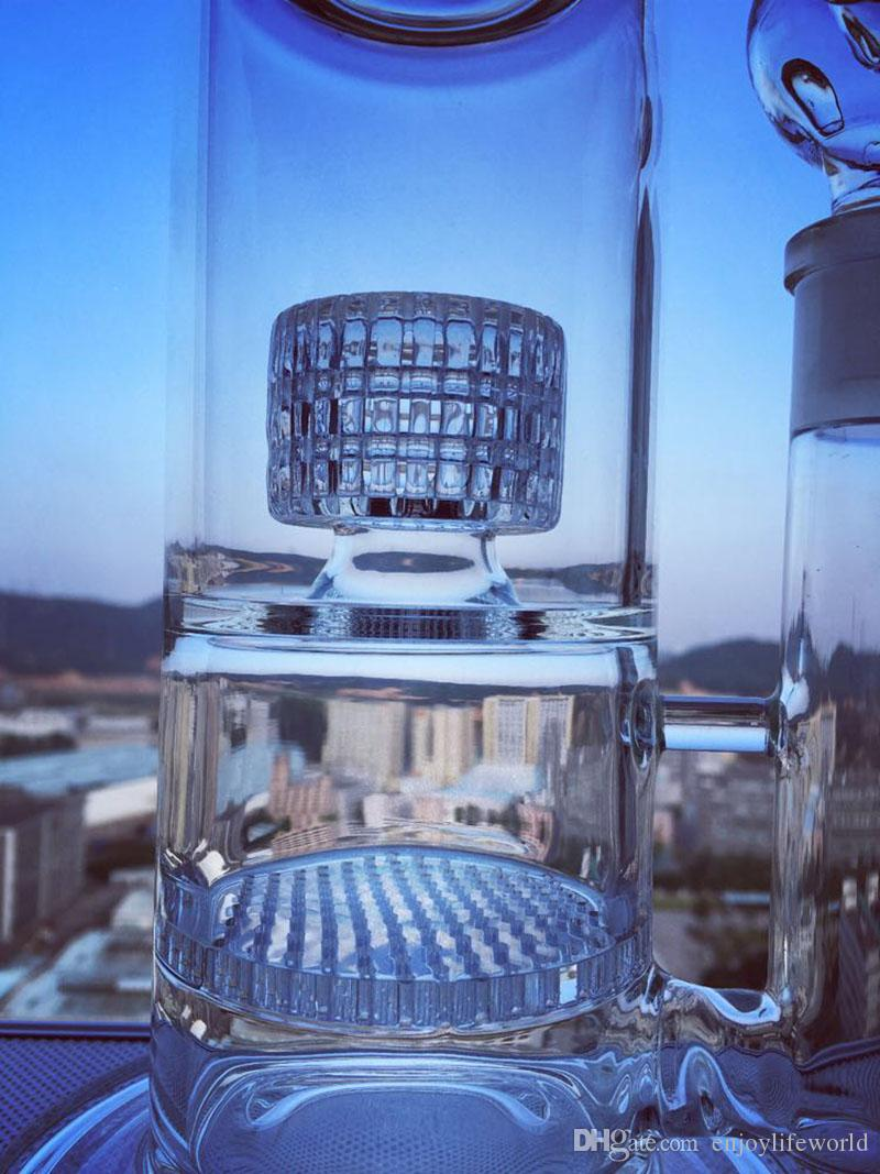 glass bong large base reinforced stable patent large tire filter honeycomb filter bong glass water pipe dab rig