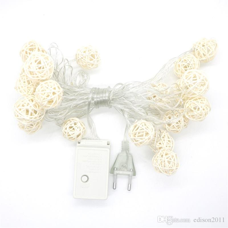 Edison2011 4M 20 LED Warm White Rattan Ball LED String Lighting Wedding Party Curtain Decoration Fairy Lights Xmas Lights Indoor