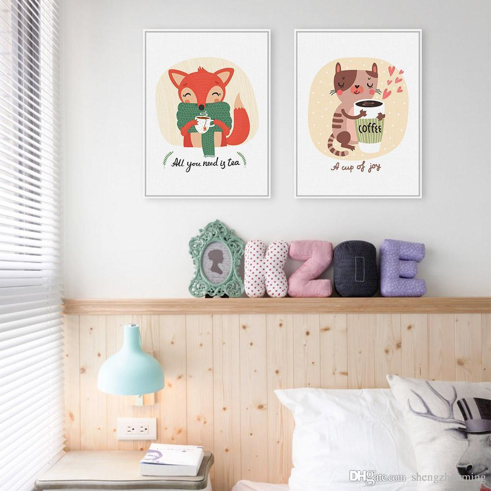 2018 Kawaii Animals Cat Fox A4 Art Print Posters Coffee Tea Living Room Wall  Pictures Canvas Painting No Framed Kids Room Decoration From Shengzhenming,  ...