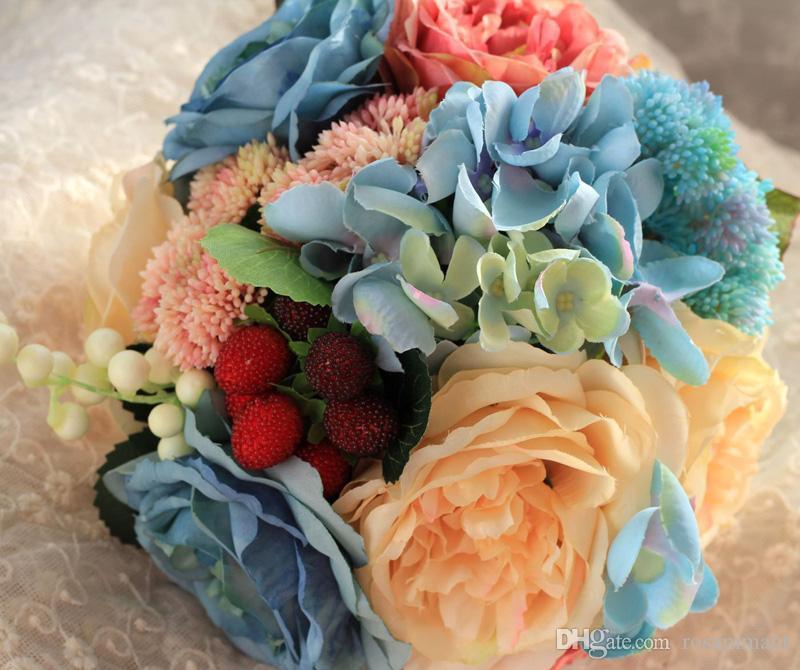 Petony Framboise Mariage Bouquets artificiels Fleurs de soie artificielle pour mariées à l'extérieur Bouquets de mariage hybride Bouquets Bouquet de Mariage