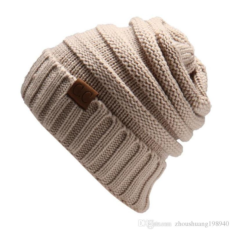 Women s Fashion Knitted Cap Autumn Winter Men Cotton Warm Hat CC Skullies  Brand Heavy Hair Ball Twist Beanies Solid Color Hip-Hop Wool Hats Online  with ... 434356b9f5f7