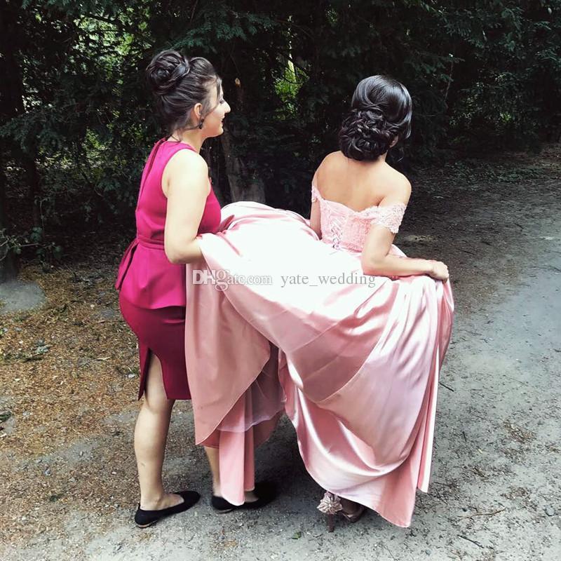 Kapalı Omuz Allık Pembe Abiye Aplikler Sequins Boncuklu Saten Kat Uzunluk Puf Etek Örgün Gelinlik Modelleri Lace Up