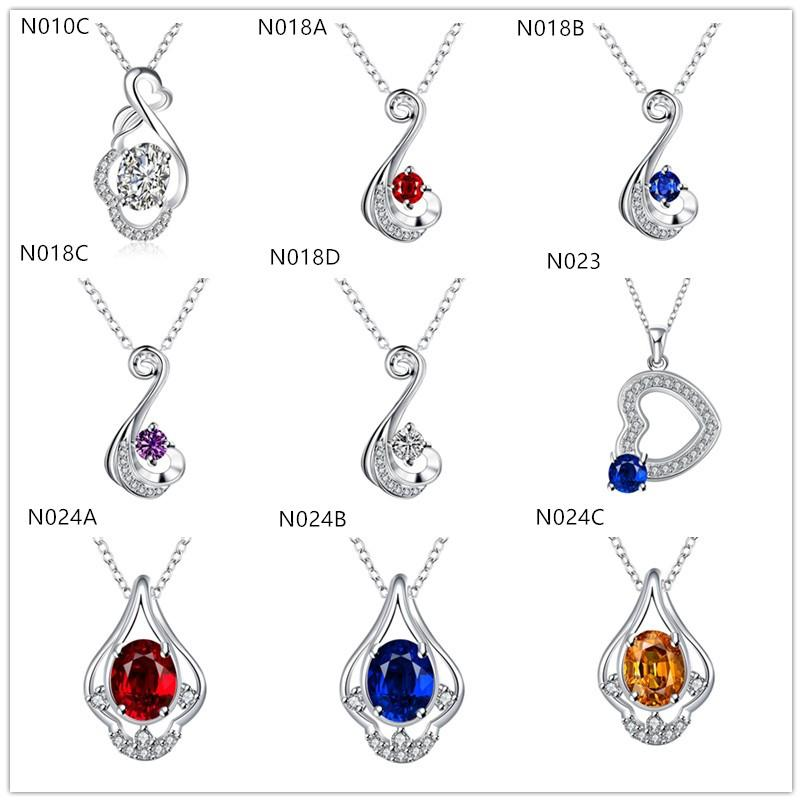 la plata de la piedra preciosa 925 de las nuevas mujeres de la marca de moda collar 10 piezas al estilo de la porción mezclada, plata esterlina barato collares pendientes EMN35