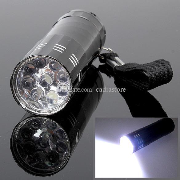 Schwarz 9 LED-Taschenlampe Mini Flash Ultra Bright Light Glare Torch F00295 CADR